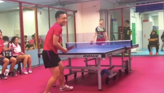 This Guy's Ping-Pong Trick Shot Blows Opponents Minds And Leaves Them Scratching Their Heads