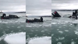 Crazy Moment A Person Is Rescued From A Sinking Truck On A Frozen Lake Seconds Before It Goes Under