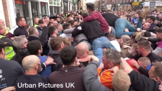 All Hell Breaks Loose With Punches Thrown In Massive Brawl During Annual British Ball Game Dating Back 820 Years