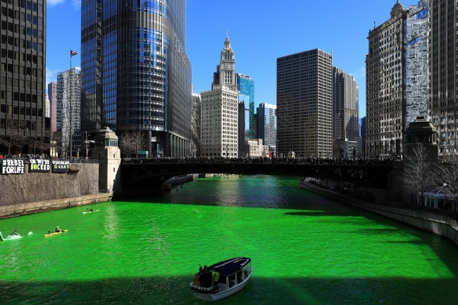 Chicago river dyed green for St. Patrick's Day 2019