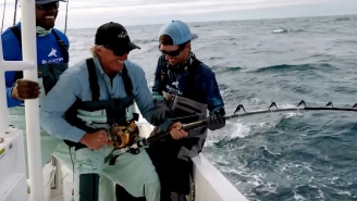 Golfing Legend Greg 'The Shark' Norman Goes Head To Head With A HUGE Goliath Grouper And Some Blacktip Sharks