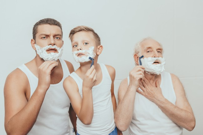 father, son, and grandfather shaving together