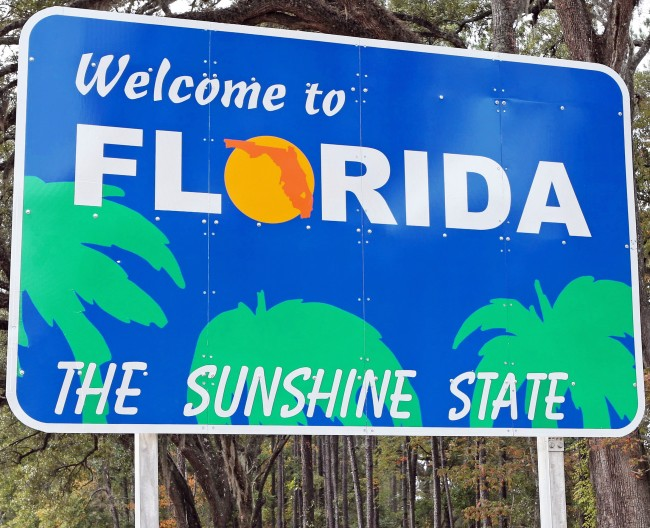 Welcome to Florida Sunshine State sign