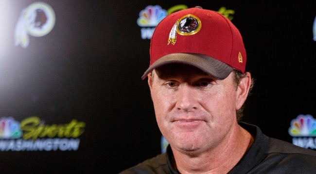 Jay Gruden Sad Expression In NFL Coaches Photo As Woman Photobombs