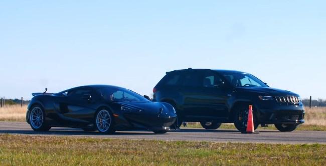 McLaren 600LT vs 1000 HP Jeep Trackhawk Drag Race