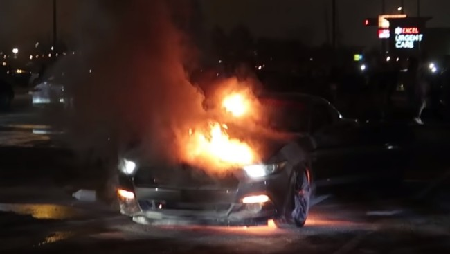 mustang burst into flames and fire from donuts