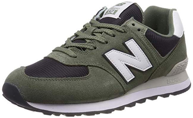 New Balance Iconic 574 in Mineral Green:Outerspace
