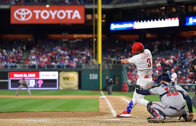 Bryce Harper bat flip after hitting home run off the Nationals