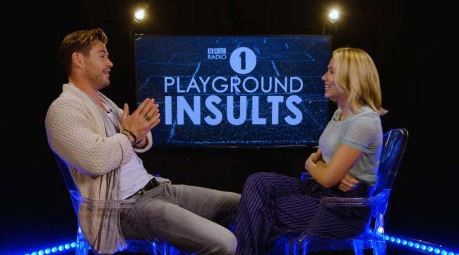 Chris Hemsworth Scarlett Johansson Suck At Insulting Each Other