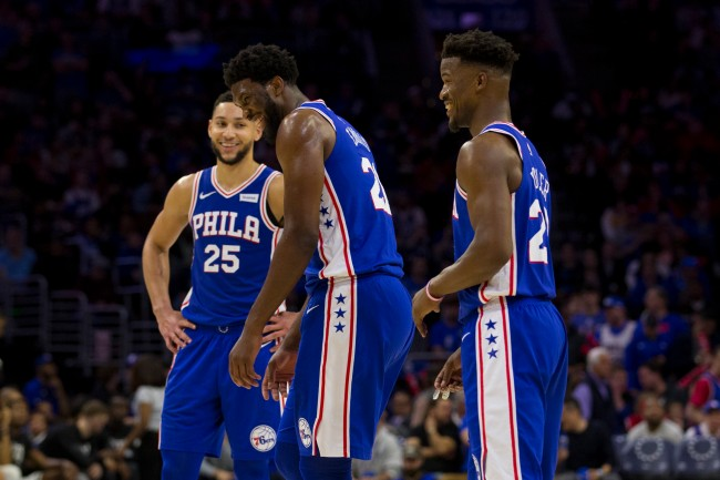 Joel Embiid and Ben Simmons Laugh After Embiid Tries To Apologize For Elbow