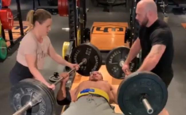 Larry Wheels Presses 2 Barbells 245 pounds