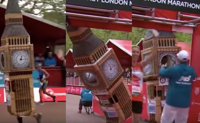 London Marathon Big Ben costume fail