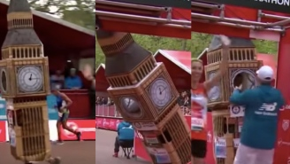 A Guy Ran The 26.2 Mile London Marathon In A Big Ben Costume And Hilariously Got Stuck At The Finish Line