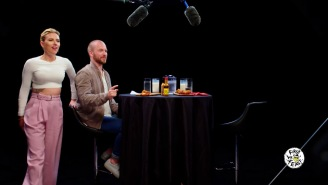 Scarlett Johansson Literally Cannot Stop Bouncing In Her Chair While Taking The 'Hot Ones' Challenge