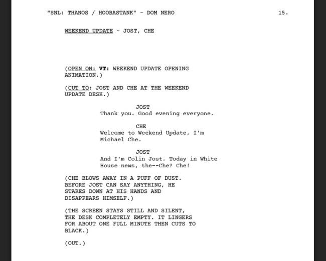 Script Where Thanos Hosts Saturday Night Live