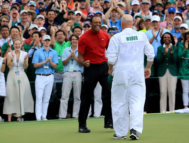 tiger woods' caddie, joe lacava, talks about how golfer kept emotions in check during masters win