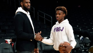 Bronny James Tore Up His 16U Nike EYBL Debut, Which Included Coach K Keeping A Close Eye On The Teenager