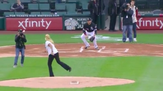 An Innocent Cameraman Almost Got Beheaded By One Of The Worst First Pitches You'll Ever See