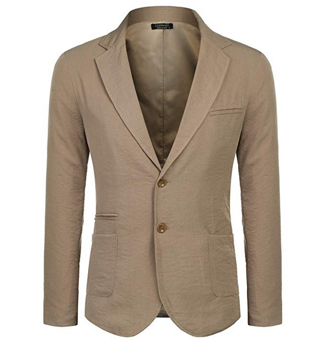 Coofandy Men's Cotton Linen Blazer