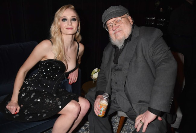 game of thrones george rr martin with sansa stark actress sophie turner
