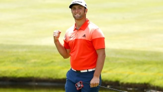 PGA Championship Cameras Capture Jon Rahm Draining The Snake In The Woods While Dustin Johnson Attempts To Hit