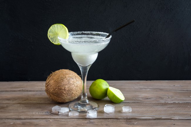 Coconut Margarita cocktail with lime