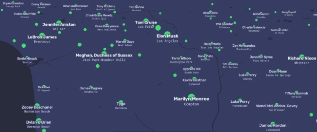 Map Shows Most Searched Person On Wikipedia For Every Town In America