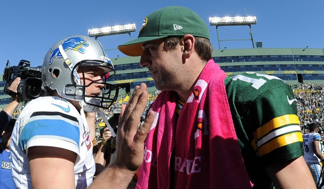 Matthew Stafford Shows Aaron Rodgers How To Chug A Beer