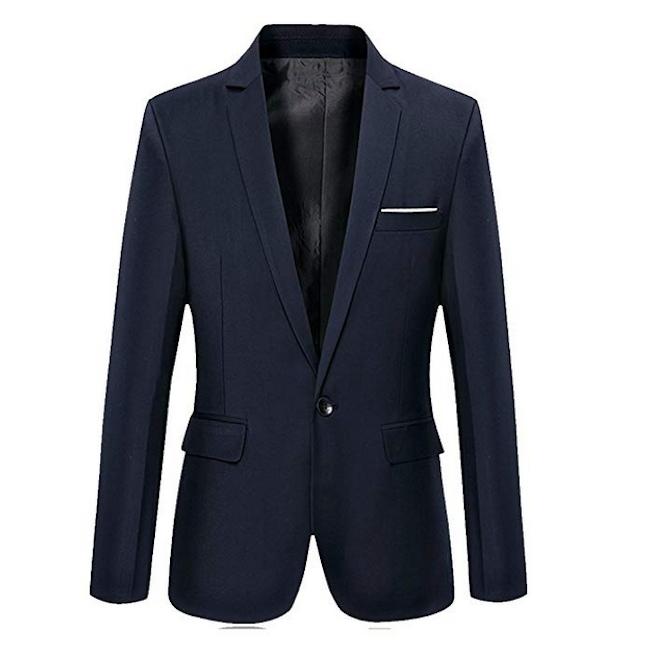 Men's Slim Fit One Button Casual Blue Blazer from David.Ann