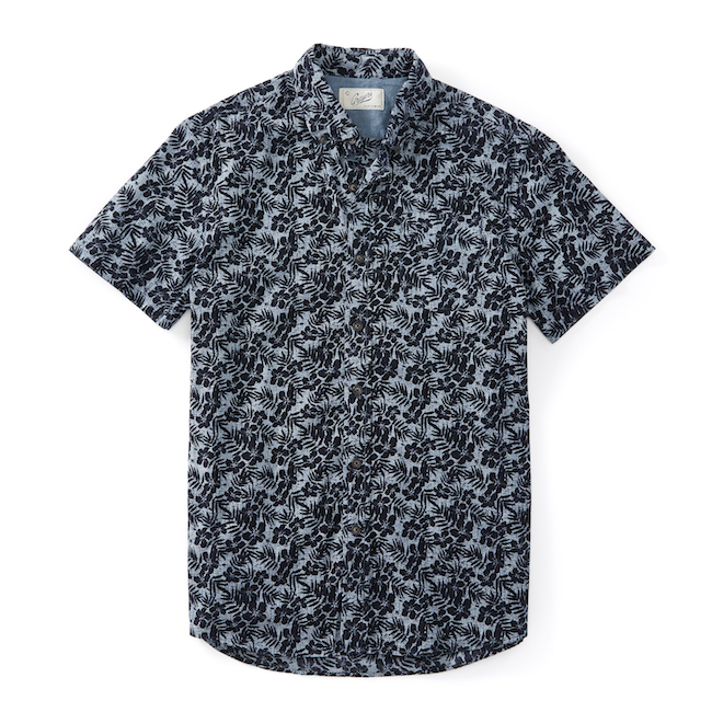 Navy Floral Printed Chambray SS from Grayers
