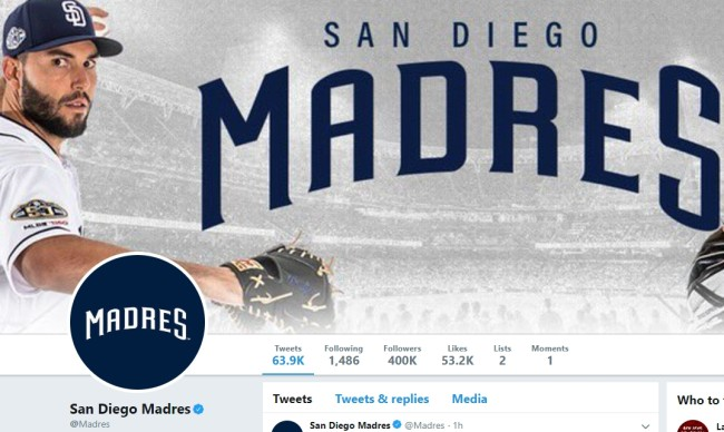 San Diego Padres change name to Madres for Mother's Day and some guy stole their Twitter handle