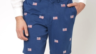 We All Have A Friend Who NEEDS These Ridiculously Preppy Embroidered American Flag Shorts