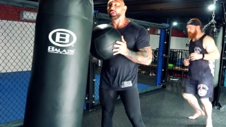 Bautista And Sheamus Tackle An MMA Cardio Workout And That Medicine Ball + Punching Bag Exercise Looks Absolutely Exhausting