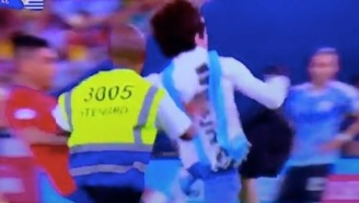 Chilean Soccer Player Levels A Pitch Invader, Uruguayan Opponent Tries To Get Him Carded For It
