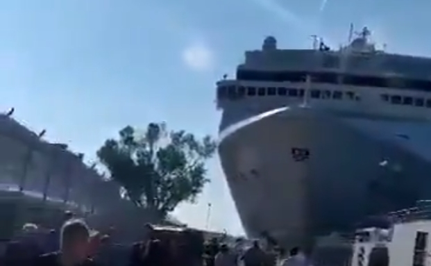 MSC cruise ship crashes into passenger boat and dock in Venice, Italy.