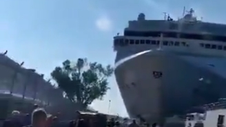 Cruise Ship Loses Control, Collides With Boat And Slams Into Dock Prompting Lots Of 'Speed 2' References