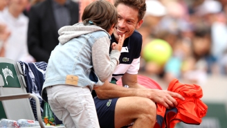 Tennis Player's Kid Rushing The Court To Console His Distraught Dad After French Open Defeat Is Allergy-Inducing
