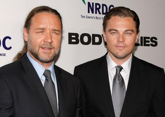Russell Crowe spent $35,000 on a dinosaur head he saw on display in Leonardo DiCaprio's house.