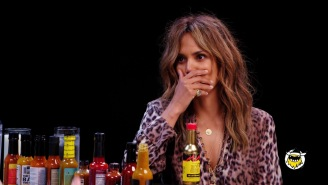 Halle Berry Struggled A Bit With The 'Hot Ones' Challenge: 'I Have Sweat Dripping From My Boob'
