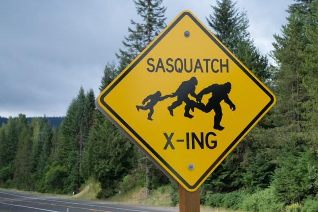 Sasquatch crossing sign Bigfoot