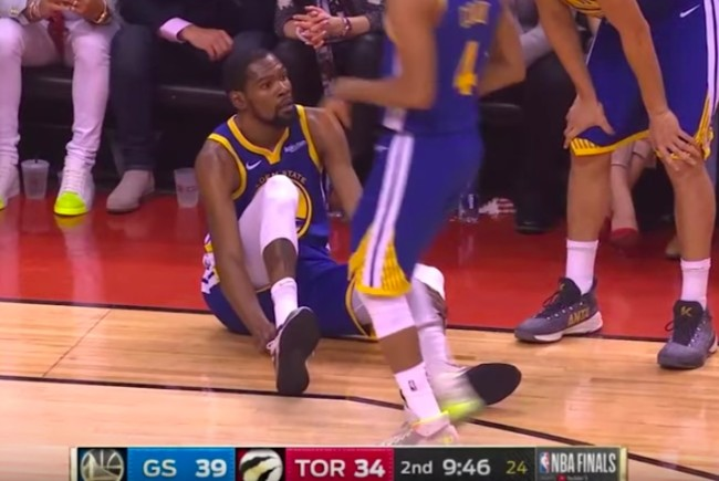 Slow motion video of Kevin Durant's latest injury from Game 5 of the NBA Finals.