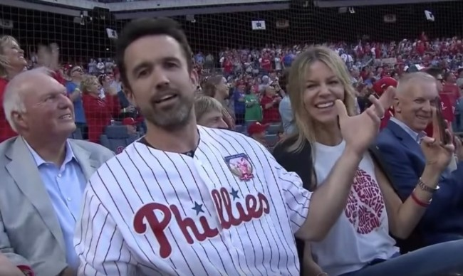 Rob McElhenney Mac Always Sunny catch with Chase Utley