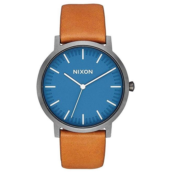 Nixon Porter Leather Band Watch in Navy:Gunmetal:Tan