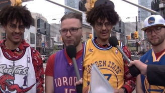 'Loyalty Is Everything' Says Diehard Toronto Raptors Fan Wearing A Golden State Jersey So He Can Get On TV