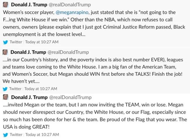 Trump Fires Back At Megan Rapinoe Twitter Tags Wrong Person