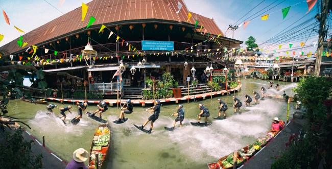 Dominik Guhrs wakeboarding Thailand's floating markets