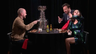 Selena Gomez And Jimmy Fallon's 'Hot Ones' Challenge Ended With Her Licking The Tablecloth