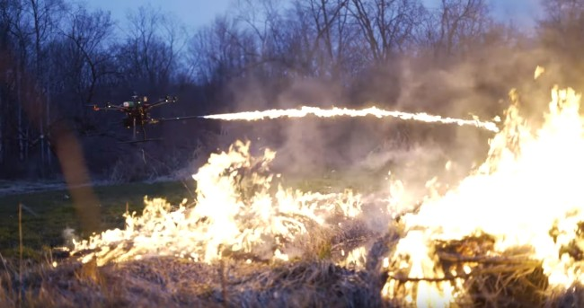 You can buy a flamethrower drone called the Throwflame.