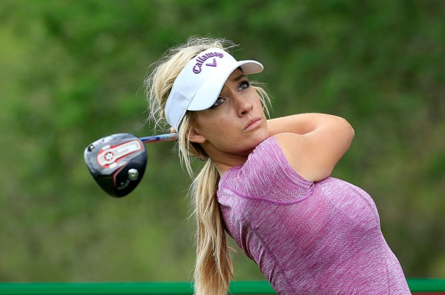 Paige Spiranac shares video of her golfing and showing off her best Happy Gilmore swing for fans.