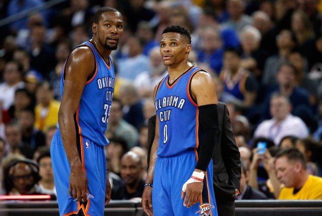 Kevin Durant reportedly told Russell Westbrook he was resigning with Thunder the day before he left for the Warriors, per Stephen A. Smith